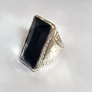 Silpada Black Stone Sterling Silver 925 Ring Sz 10